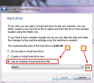 Use an existing virtual hard drive file