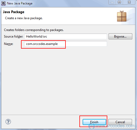 Write package name
