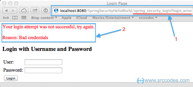 secured page without valid username and password