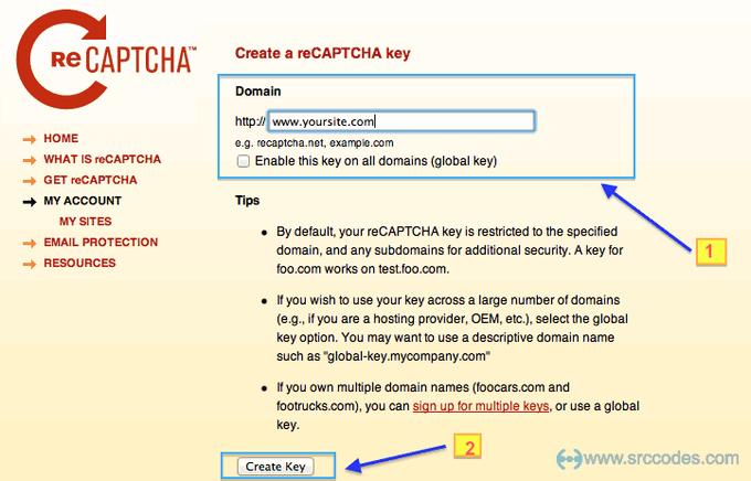 Create a reCAPTCHA key