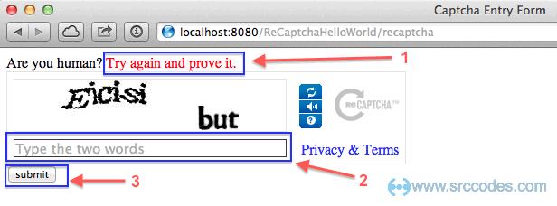 reCAPTCHA challenge failed