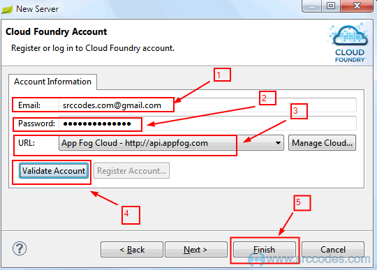 Configure AppFog Account