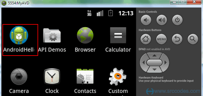 Android Hello world app icon