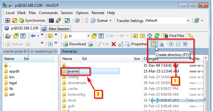create Java ME directory