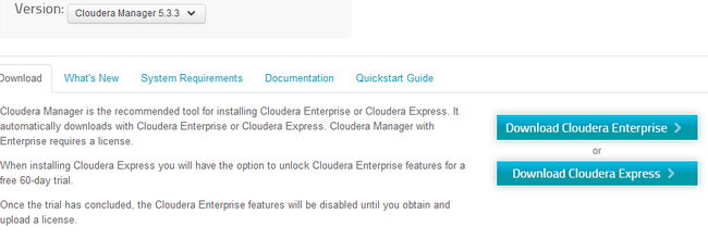 Select version and download Cloudera Express