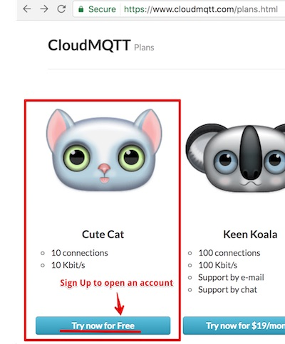 sign up for CloudMQTT Cute Cat plan