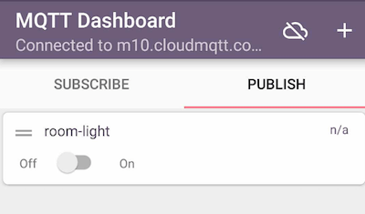 IoT MQTT Dashboard - Publish tab