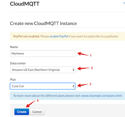 Create a new CloudMQTT instance