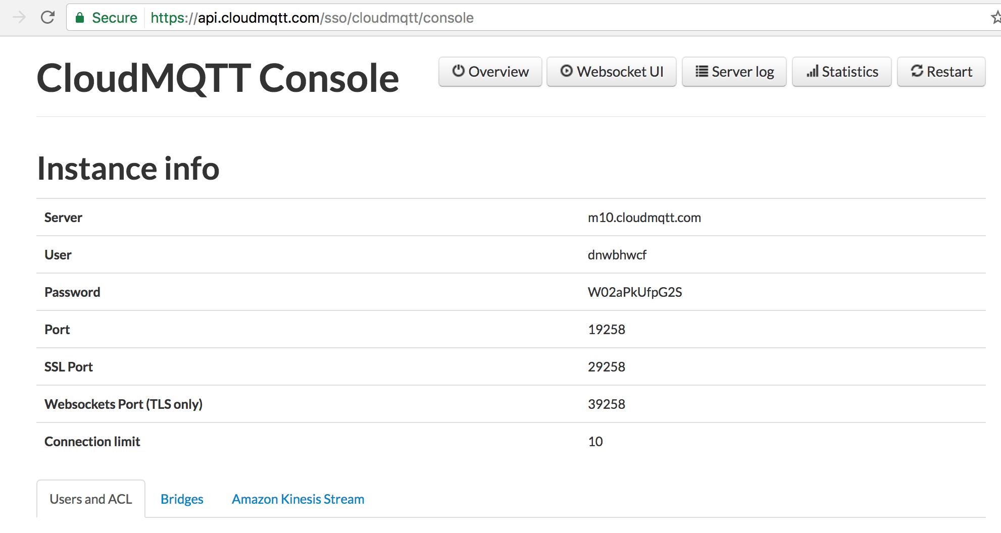 CloudMQTT console