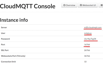 CloudMQTT Console - instance info (Server, User, Password and Port)