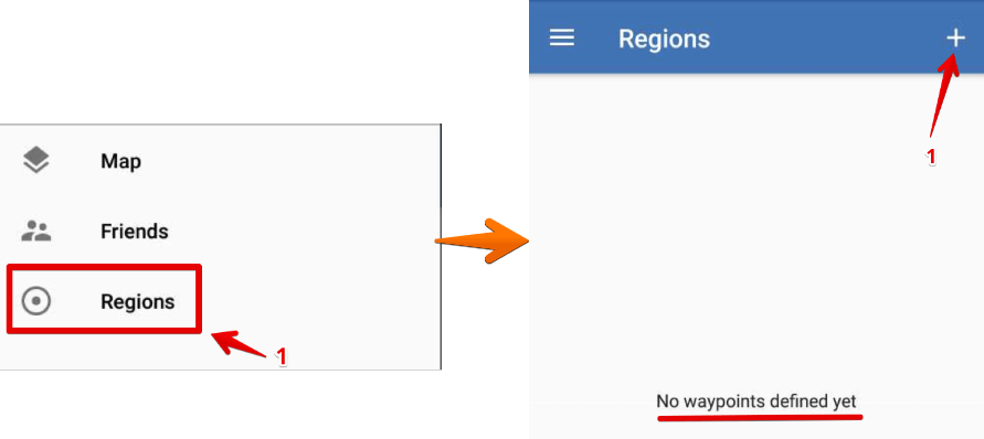 OwnTracks - Regions - No waypoints defined yet