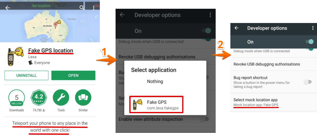 Google Play Store - Install Fake GPS location