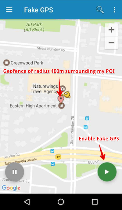 Fake GPS location - Set the mock gps location