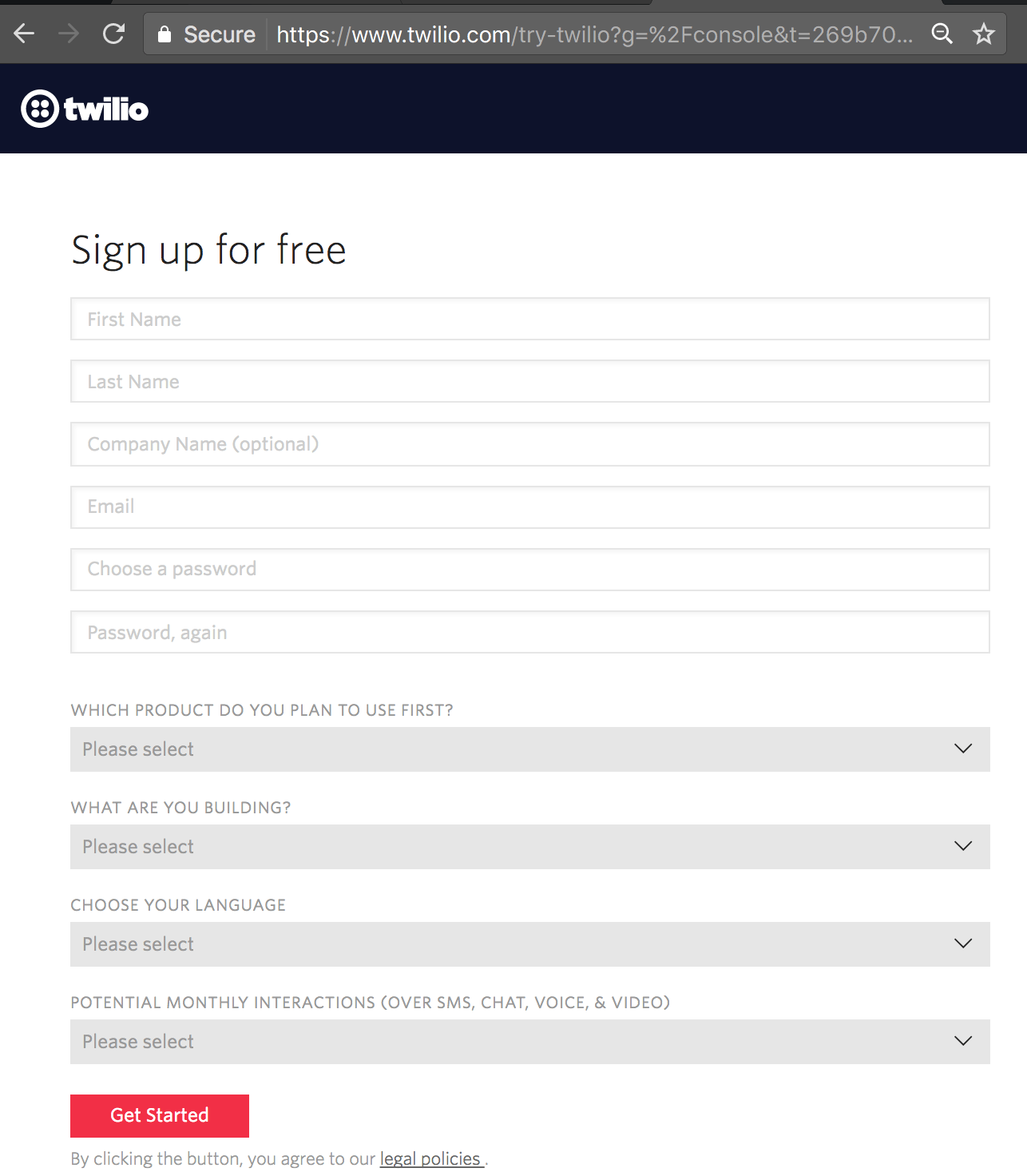 Signup for a trial account in twilio