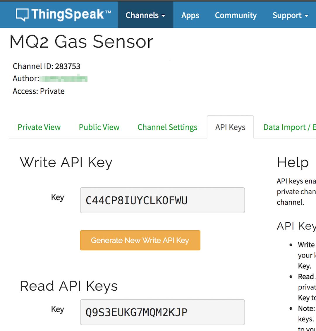 Write API Key - Read API Keys -Channel ID